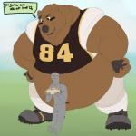 2016 ?! anthro bear belly biceps big_belly black_claws black_eyes black_lips black_nose blush brown_belly brown_eyes brown_fur claws clothed clothing dialogue digital_media_(artwork) duo empty_eyes english_text eyebrows face_paint food football_player football_uniform footwear fur galvinwolf hands_on_hips hi_res holding_food holding_object human hyper hyper_belly jersey larger_male lips male mammal muscular muscular_male navel nervous obese overweight overweight_male sandwich_(food) shoes size_difference smaller_male speech_bubble standing sweat sweatdrop text uniform zooberRating: SafeScore: 5User: Cash_BanoocaDate: March 27, 2017