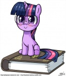 :> blush book cub cute english_text equine eyewear female feral friendship_is_magic fur glasses hair happy horn john_joseco mammal micro multicolored_hair my_little_pony purple_eyes purple_fur purple_hair simple_background smile solo text twilight_sparkle_(mlp) two_tone_hair unicorn white_background young