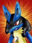 ambiguous_gender anthro black_fur blue_fur canine fur lucario mammal nintendo pokémon red_eyes solo video_games yellow_fur  Rating: Safe Score: 2 User: Axel_BraveFighter Date: December 20, 2014
