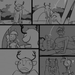 ? 1:1 anthro antlers awkward breasts camping cervid clothed clothing comic confusion crossed_arms digital_drawing_(artwork) digital_media_(artwork) disappointed disgust duo female flashing grey_background horn lagomorph leporid lying male mammal monochrome night nipples on_back on_side pillow rabbit simple_background slypon smile tent topless traumatized tree
