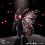 ambiguous_gender blood clefable creepy feral fusion hybrid looking_at_viewer looking_back nintendo pokemon_fusion pokemonfromhell pokémon red_eyes shadow venonat video_games watching wings   Rating: Safe  Score: 0  User: VillainousVulpix  Date: January 19, 2014