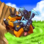 3_toes anal anal_penetration anus backsack balls barefoot blush cum cum_in_ass cum_inside duo erection feral kivwolf male male/male nintendo nude penetration penis pignite pokémon riolu semi-anthro size_difference small_dom_big_sub sweat toes video_games