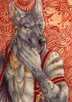 2015 abstract_background anthro brown_eyes claws ear_piercing facial_piercing fur gold_(metal) grey_fur grey_stripes hyena jewelry male mammal nose_piercing piercing rukis smile solo stripes tattoo  Rating: Safe Score: 7 User: *Sellon* Date: September 19, 2015