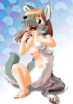 breasts brown_eyes brown_hair canine edmol female fur grey_fur hair mammal nude solo transformation wolf  Rating: Explicit Score: 10 User: Flerg Date: March 17, 2013