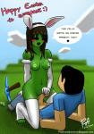 absurd_res arm_warmers black_eyes blush breasts clothing cowgirl_position creeper duo easter erection female green_skin hair hi_res holidays humanoid lagomorph legwear long_hair mammal minecraft minetest not_furry on_top open_mouth penis pickaxe precum psyk323 sex stockings text video_games  Rating: Explicit Score: 1 User: Nivaal Date: January 26, 2016