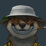 adjot anthro black_nose brown_fur brown_hair cheek_tuft cigarette cigarette_holder clothed clothing countershading ears_back eyebrows eyewear fangs fear_and_loathing_in_las_vegas fully_clothed fur grey_background grey_eyes hair half-closed_eyes hat looking_at_viewer low_res male mammal meerkat mongoose multicolored_fur short_hair simple_background smile smoking solo sunglasses tan_fur tuft two_tone_fur