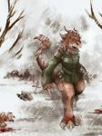 anthro blood bottomless brown_eyes claws clothed clothing death dinosaur female fur hair half-dressed m5memyou military outside raptor scalie snow snowing solo uniform wehrmacht  Rating: Safe Score: 7 User: deinoboy Date: November 22, 2014