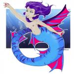 abstract_background aquaritc armpits blue_eyes blue_skin breasts female fin hair hi_res human humanoid mammal marine merfolk naga nipples pink_fins purple_hair scales small_breasts solo spikes stripes swimming theredghost underwater water  Rating: Questionable Score: 2 User: TheRedGhost Date: April 25, 2016