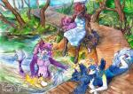 anthro canine day female forest fuzzymaro grass group mammal nintendo nude plant playing pokémon pokémon_(species) psyduck river traditional_media_(artwork) tree video_games water watercolor_(artwork) wolf
