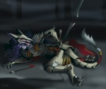 2012 angry anthro armor arrow blood cape claws clothed clothing female fur hair hindpaw long_hair open_mouth paws purple_fur purple_hair rain_silves sergal teeth toe_claws toe_curl tongue trancy_mick warpaint weapon white_fur wounded   Rating: Safe  Score: 8  User: GameManiac  Date: May 07, 2015