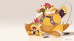 bowser bowser_jr. collar eyewear glasses headphones koopa mario_bros nintendo nintendo_switch oxfruit scalie shell simple_background video_games