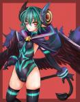 :o arcana_trust border camel_toe demon elbow_gloves female gloves green_hair hair hi_res horn looking_at_viewer plain_background pointy_ears red_background red_eyes shinrabanshou short_hair simple_background solo spade_tail succubus taishi thigh_highs wings   Rating: Questionable  Score: 3  User: AnacondaRifle  Date: March 20, 2014