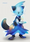 bottomless bow_tie clothed clothing dewott eldrige glass male mammal mustelid nintendo otter plain_background pokémon smile solo standing suit video_games waiter   Rating: Safe  Score: 6  User: UNBERIEVABRE!  Date: June 25, 2014