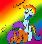 alazak anal blue_fur cub dildo duo english_text equine female feral friendship_is_magic fur hair horse lesbian multi-colored_hair my_little_pony penetration plain_background pony purple_hair rainbow_background rainbow_dash_(mlp) rainbow_hair scootaloo_(mlp) sex sex_toy strapon tears text young   Rating: Explicit  Score: 2  User: Alazak  Date: September 04, 2013
