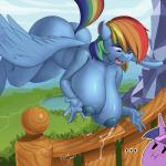 ... 2015 anthro anthrofied big_breasts blue_feathers blue_fur blue_skin breasts butt duo equine feathered_wings feathers female flying friendship_is_magic fur hair horn huge_breasts kevinsano lactating mammal milk multicolored_hair multicolored_tail my_little_pony nipples nude open_mouth outside pegasus rainbow_dash_(mlp) rainbow_fur rainbow_hair rainbow_tail twilight_sparkle_(mlp) unicorn wings  Rating: Questionable Score: 19 User: lemongrab Date: November 11, 2015