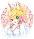 blonde_hair breasts canine cute female fox fur green_eyes hair kemono mammal one_eye_closed open_mouth orange_fur solo マボ   Rating: Safe  Score: 2  User: KemonoLover96  Date: May 29, 2015
