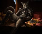 anthro armor balls bottomless cat clothed clothing feline half-dressed khajiit kharjo knight lynx male mammal penis sheath skyrim solo sweetroll the_elder_scrolls tuftedears video_games warrior  Rating: Explicit Score: 30 User: furmann Date: January 07, 2013