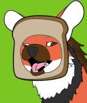 ambiguous_gender black_fur bread canine crimsoncolored derp_eyes food fur green_background grin in_bread mammal maned_wolf meme multicolored_fur open_mouth orange_fur pão_pão simple_background smile solo teeth tongue white_fur