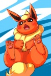 abstract_background ambiguous_gender blush brown_eyes chalaza eeveelution flareon fur nintendo open_mouth orange_fur paws pokémon solo teeth tongue video_games yellow_fur  Rating: Safe Score: 2 User: Goldenbanana1231 Date: October 08, 2015