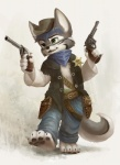 2013 anthro bandanna bandolier canine cowboy cowboy_hat cute dual_wielding fur green_eyes grey_fur gun handgun hat holding holding_weapon male mammal plain_background ranged_weapon revolver sheriff silverfox5213 solo weapon western wolf  Rating: Safe Score: 16 User: TonyLemur Date: March 20, 2013""