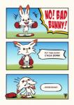 2019 boxing_gloves crying english_text fox-pop fur grass happy hi_res humor lagomorph mammal nintendo offscreen_character outside pokémon pokémon_(species) red_eyes sad scorbunny sky solo tears text video_games white_fur