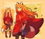 abstract_background animal_humanoid bag boots brown_eyes clothed clothing dav-19 dress female fluffy fluffy_tail footwear fox_humanoid fox_tail front_view fully_clothed hair happy humanoid leaves leggings legwear mammal multiple_poses orange_hair patricia_(dav-19) poncho pose shirt smile solo standing