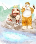 anthro bipedal calvin crossed_arms duo feline fish fishing front_view full-length_portrait hobbes human male mammal marine mixed_media obese outside overweight paran0id42 pen_(artwork) sitting standing tiger tongue traditional_media_(artwork) water watercolor_(artwork)   Rating: Safe  Score: -6  User: toboe  Date: July 15, 2012
