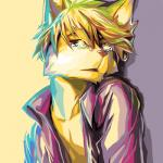 2014 anthro blonde_hair canid canine canis colorful crying domestic_dog fur hair inner_ear_fluff looking_at_viewer male mammal mayobug open_mouth simple_background solo tears