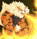 abs anthro arcanine biceps blue_eyes breath canine fire flamethrower fur invalid_tag male mammal muscular naruever nintendo pecs pokémon ranged_weapon solo video_games weapon  Rating: Safe Score: 2 User: Vallizo Date: April 07, 2015