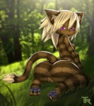 anthro anus breasts butt cat feline female grass hair looking_at_viewer mammal open_mouth pussy solo stripes trbox   Rating: Explicit  Score: 25  User: Buffy_Honey  Date: March 25, 2015