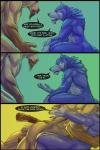 balls biceps blue_fur canine comic dialog ear_piercing equine fangs fur gay glomp horse male mammal muscles piercing plain_background rrowdybeast teeth text wolf   Rating: Explicit  Score: 12  User: unforget  Date: April 05, 2014