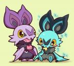 anthro bat blush cupcake cute duo eating female food glitter huiro male mammal nintendo noibat open_mouth pokémon shiny_pokémon simple_background teeth video_games yellow_eyes  Rating: Safe Score: 11 User: DeltaFlame Date: December 03, 2014
