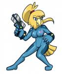 alternate_species anaugi anthro avian blue_eyes chozo female gun hi_res holding_object holding_weapon metroid nintendo ranged_weapon samus_aran simple_background solo video_games weapon white_background zero_suit