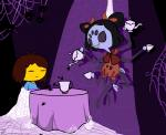 ambiguous_gender animated arachnid arthropod black_hair duo fangs female hair human mammal muffet multi_limb multiple_eyes pigtails protagonist_(undertale) spider spider_web undertale unknown_artist video_games  Rating: Safe Score: 14 User: Nuji Date: February 12, 2016