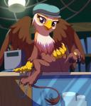 2015 3_toes avian beak brown_fur cash_register claws coin female friendship_is_magic fur glass gryphon hat hi_res hindpaw inside looking_at_viewer my_little_pony pawpads paws pussy sitting solo spread_legs spreading stoic5 teats toe_curl toes wings   Rating: Explicit  Score: 35  User: lemongrab  Date: May 24, 2015