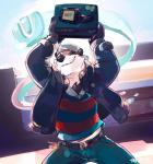 anthro bear belt black_nose box chest_tuff claws clothed clothing eyes_closed fur hat jacket jeans mammal mario_bros nes_controller nintendo outside panda shirt smile solo starman store super-tuler tairu teeth victory video_games wii_u   Rating: Safe  Score: 3  User: Notkastar  Date: May 19, 2015