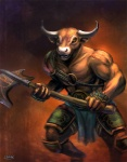 abs anthro armor axe biceps bovine brown_fur cattle clothed clothing fur half-dressed horn loincloth male mammal melee_weapon minotaur muscles pecs pigeonkill pose solo standing tattoo topless weapon yellow_eyes  Rating: Safe Score: 8 User: Robinebra Date: May 13, 2013
