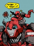<3 ambiguous_gender angry autobot blue_eyes cliffjumper crossover deadpool dialogue english_text horn humanoid humor machine melee_weapon mercenary musical_note not_furry robot sword text transformers transformers_prime unknown_artist weapon  Rating: Safe Score: 2 User: shadey Date: November 20, 2012