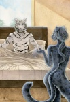 2012 anthro bed beverage butt coffee duo feline female food hair long_hair male mammal nude panther romantic_couple shinigamigirl tiger white_tiger