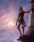 2015 anthro canine claws clothed clothing cloud coyote dagger fur leaning male mammal melee_weapon outside rear_view roof rukis sky solo standing weapon  Rating: Safe Score: 13 User: *Sellon* Date: June 29, 2015