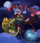 2017 ambiguous_gender anthro areola arnachy braixen breasts clitoris cloud female full_moon group hair hair_over_eye halloween hat hi_res holidays lampent moon mostly_nude navel night nintendo nipples outside pokémon pokémon_(species) pumpkaboo pussy sky smile video_games