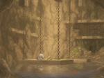 4:3 ambiguous_gender anthro cave cave_story chain chinfish fish fishing_rod kanpachi lagomorph lake mammal marine mimiga moss s_syo sitting solo sue_sakamoto underground video_games water