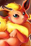 2014 ambiguous_gender blue_eyes blush eeveelution feral fire fire_breathing flareon fur hi_res looking_at_viewer nintendo open_mouth pokémon red_fur solo tongue vermeilbird video_games yellow_fur