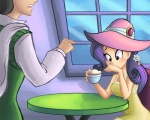 2012 blue_eyes blush cappuccino chair clothing cup dress duo female flower foam friendship_is_magic hair hat human humanized male mammal my_little_pony not_furry outside plant purple_hair rarity_(mlp) ric-m table   Rating: Safe  Score: 10  User: 2DUK  Date: August 21, 2012