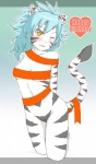 2012 anthro bareisyo blue_hair blush breasts english_text feline female fur fuurin_rei gradient_background hair kneeling looking_at_viewer mammal one_eye_closed solo text tiger white_fur white_skin white_tiger wink yellow_eyes  Rating: Questionable Score: 2 User: Granberia Date: June 13, 2015""