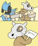 ambiguous_gender angry black_eyes blue_fur classroom comic cubone fur humor meme nintendo note pokémon pokémon_(species) riolu school sitting skull_mask unknown_artist video_gamesRating: SafeScore: 69User: NathmurrDate: November 28, 2017