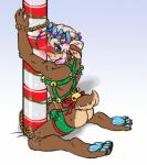 anthro assless bdsm bell bondage bound bound_legs bound_wrists bulge butt cervine christmas_lights crimsonkeaton glowing harness kneeling looking_at_viewer male mammal pole rear_view reindeer rope rudolph solo   Rating: Questionable  Score: 7  User: Circeus  Date: January 16, 2015