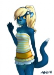 """anthro blonde_hair blue_fur clothing cute e621 female fur hair mammal mascot_contest monoth mustelid otter skirt solo standing yellow_eyes  Rating: Safe Score: 7 User: Fox2K9 Date: February 08, 2010"""""""