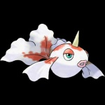 ambiguous_gender blue_eyes feral fish goldeen horn ken_sugimori lips marine nintendo official_art pokémon simple_background solo video_games
