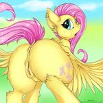 2019 anus blush butt cutie_mark equid equine feathered_wings feathers female feral fluttershy_(mlp) friendship_is_magic hair kianara looking_at_viewer looking_back mammal my_little_pony pterippus pussy solo wings